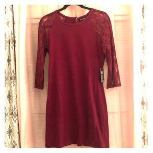 Express Lace Sleeve Red Dress